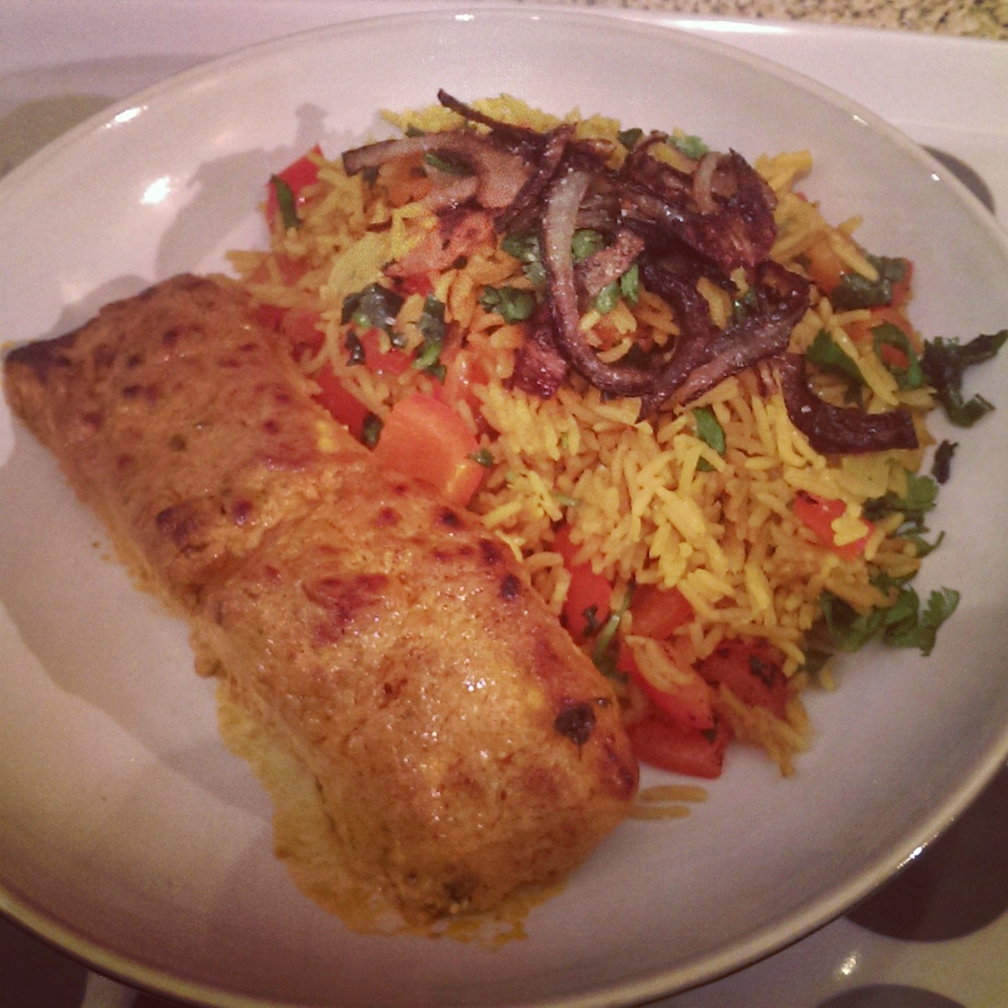 Salmon Tikka and Pepper Pilau - fitcetera