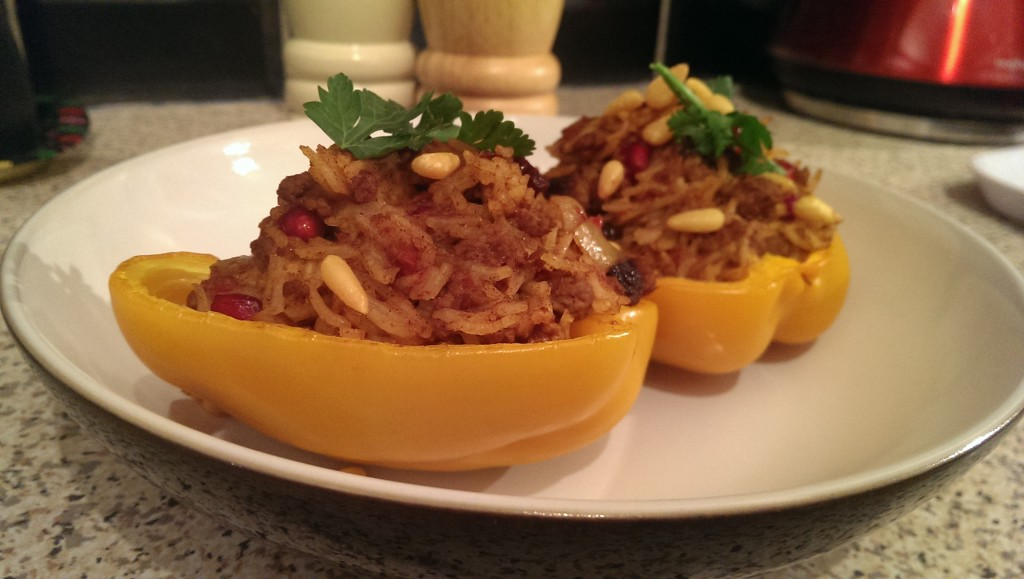 Moroccan Inspired Beef Stuffed Peppers