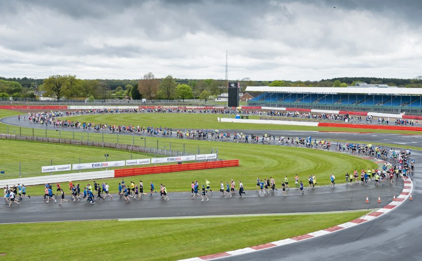 Competitors runs during the Wings for Life World Run in Silverstone on 3rd May in the UK