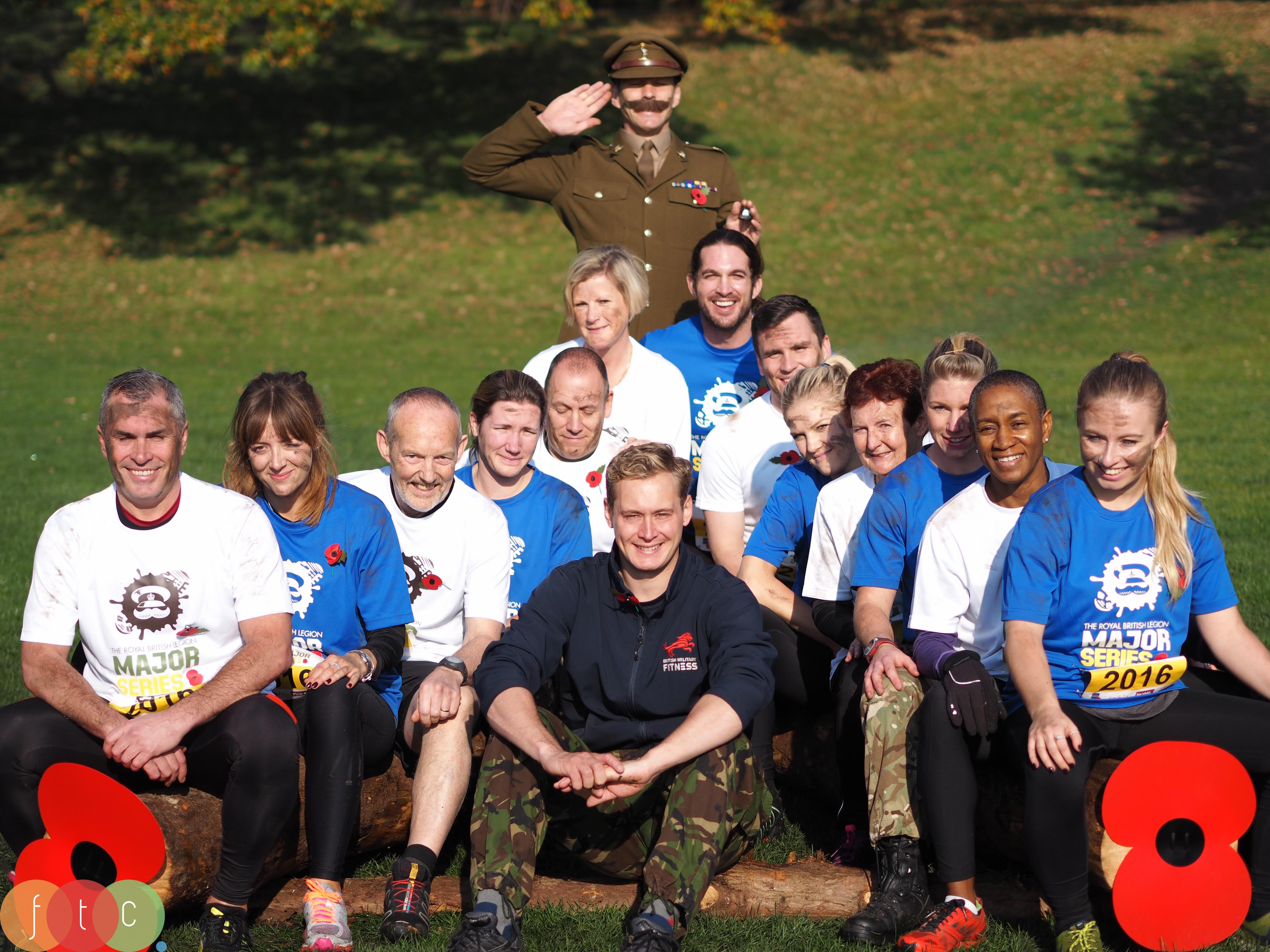 Race Director of The Royal British Legion Major Series with the Major and his troops